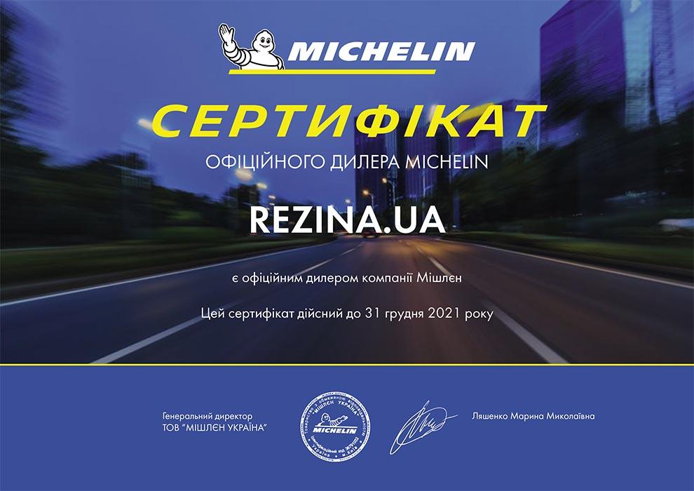 Сертификат официального дилера Michelin
